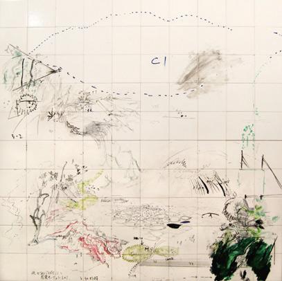 Masanori Handa Turnoff Paradise sense-surfi ng part 1&2 (2007) oil, felt-tip pen on tile, mounted on 2 wood panels, 148.0x148.0cm Courtesy: Kodama Gallery