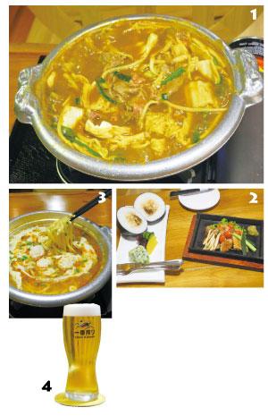 1. 江の島自家製カレー鍋(RM29)。江の島だけで味わえる日本とマレーシアのフュージョンカレー鍋。 2. もも肉柚子胡椒焼き(RM22)と爆弾おにぎり(RM13)。ガブリ! と豪快に食べられない人のために、フォークとナイフが付いてくる⁉ 3. 江の島特製ラーメン(RM20)。 4. キリン一番搾り(RM22.50)。